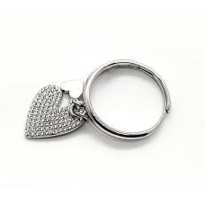 Anello argento 925%  2 Cuori pendenti