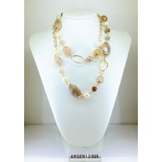 Collana Argento 925% Pietre naturali Perle e Agata Venata