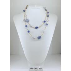 Collana Ematite, Perle grigie, Cianite e Lapislazzuli