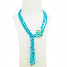 Collana Sciarpa Turhcese Naturale Perle Grigie