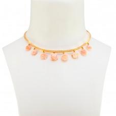 Girocollo Oro Diamanti e Corallo rosa
