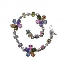 Bracciale argento 925% Fiori Multicolor
