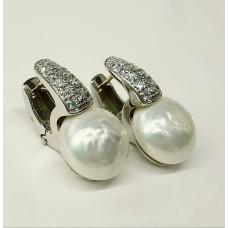 Orecchini Argento 925% perle acqua dolce, gancio con zirconi taglio diamante e ago in oro giallo