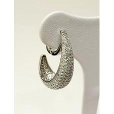 Orecchini argento 925% ad anella ovalizzata, zirconi taglio diamante