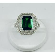 Anello argento925% simil Smeraldo contorno zirconi