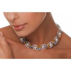 Collana con perle, diamanti e zaffiri
