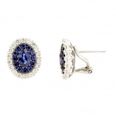 Earring with diamonds and natural stone - E00667DB036x4