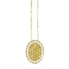 Girocollo con diamanti e pietre naturali - P00358YB08