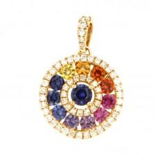 Pendente con diamanti e pietre naturali - P00637RB11-A