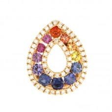 Pendente con diamanti e pietre naturali - P00714RB11-A