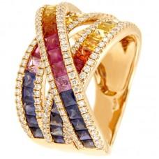 Anello con diamanti e pietre naturali - R00939RB11