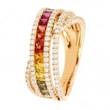Anello con diamanti e pietre naturali - R01158RB11