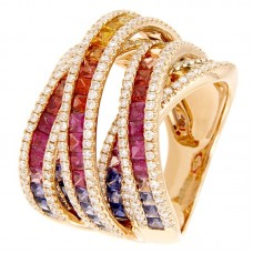 Anello con diamanti e pietre naturali - R01624RB11