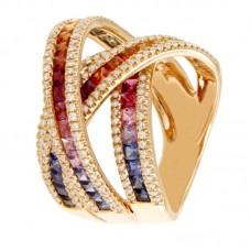 Anello con diamanti e pietre naturali - R01627RB11