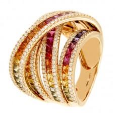 Anello con diamanti e pietre naturali - R01628RB11