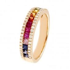 Anello con diamanti e pietre colorate - RFX1660SM-01